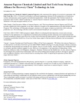 Amazon Papyrus Chemicals Limited and Fuel Tech Form Strategic Alliance for Recovery Chem® Technology in Asia